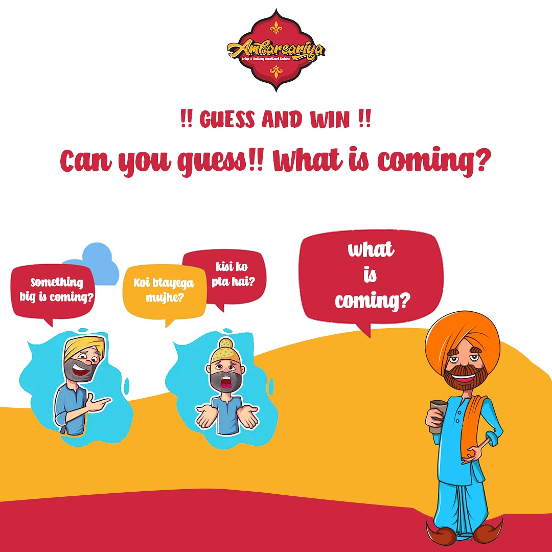 Tired of hearing??? Don't worry we have something interesting for you.... Guess what is coming and chance to win a free dinner!!!! Comment below👇  @ambarsariyaofficial  #comingsoon #ambarsariya #freedinner #contestalert #jaipurfooddiaries #jaipurfood #cholekulche