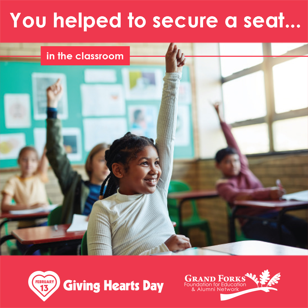 "Thank you for helping us ""secure more seats"" in the classroom for our @GFSchools students in need on #GivingHeartsDay!!! #secureaseat #GFSchools #ILoveGF #GFisCooler #GFisKinder"