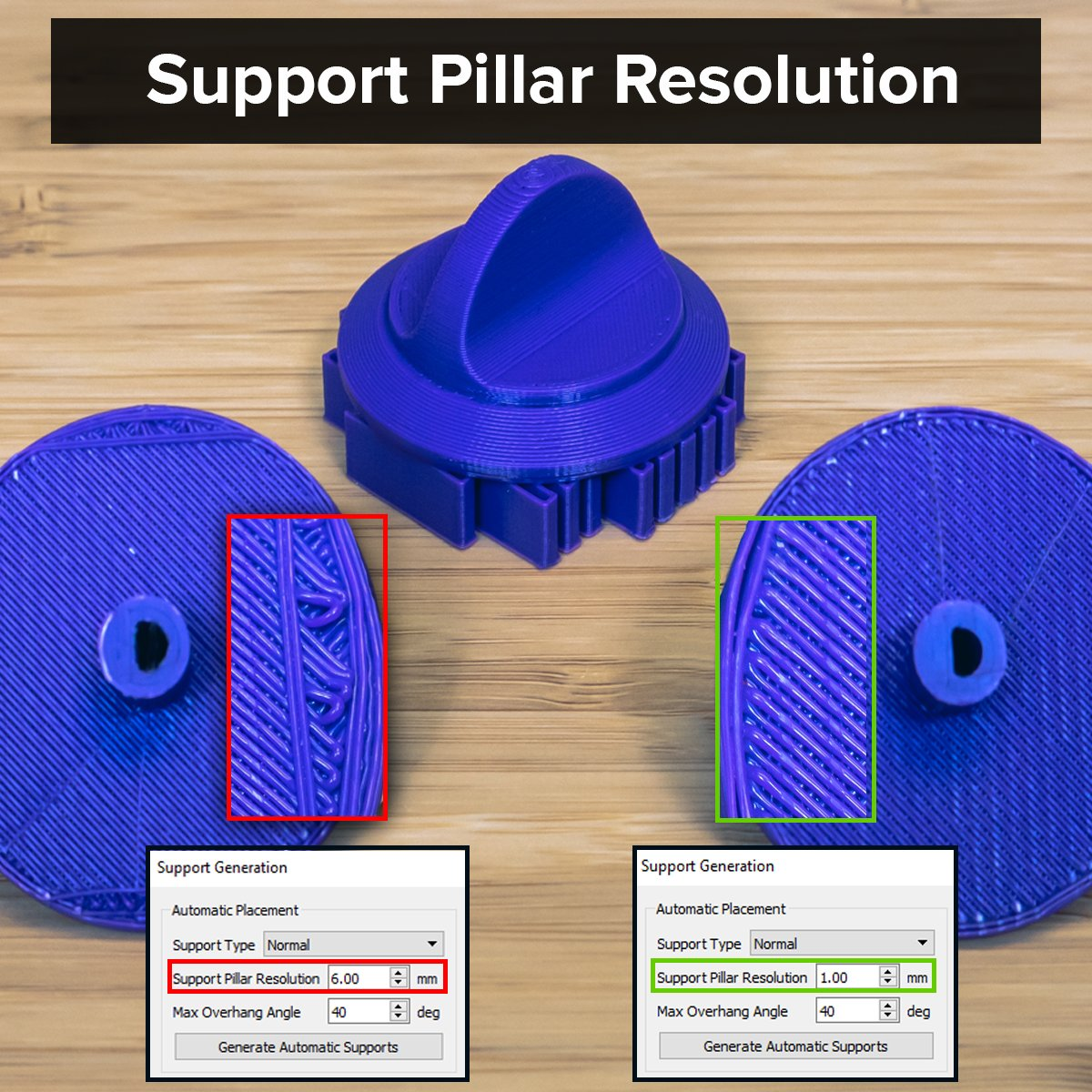 If your part's overhangs aren't being properly supported you may be printing with too large of a support pillar resolution. Lowering the support pillar resolution for this part generated more support structures and eliminated the drooping solid layers. #S3DTip