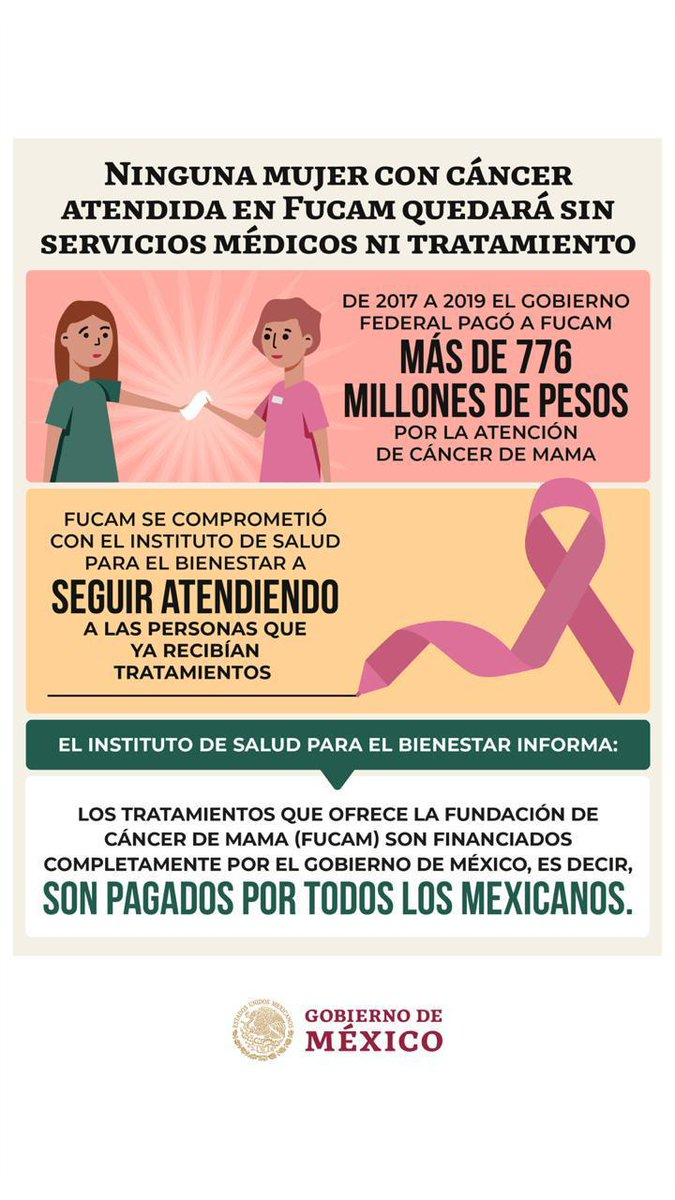 🔴 El @INSABI_mx  informa que ninguna mujer con cáncer atendida en @FUCAMM  quedará sin tratamiento.