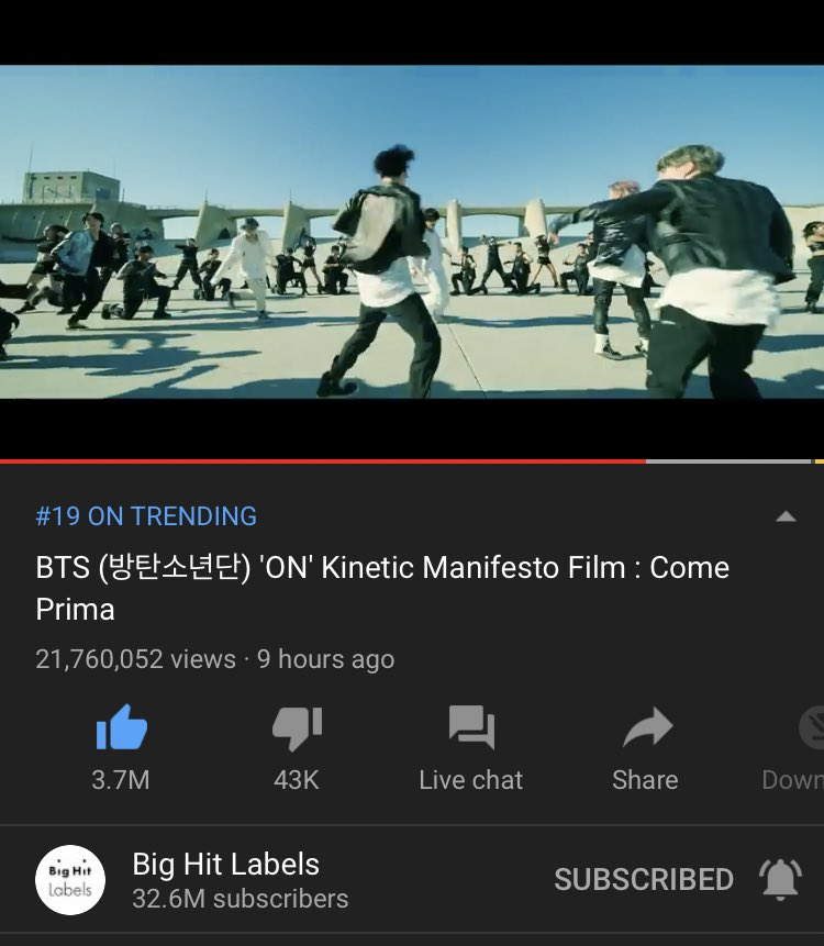 🎶 YOUTUBE STATS 🎶  ⏰ 3:27AM kst | Feb 22 👀 21.7M 👍🏻 3.7M  Ami streaming rate is very slow 🐌  ➝ #KCA + #VoteBTS + (@BTS_twt)