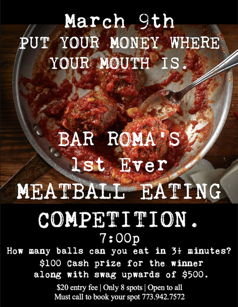 It's #MeatballMania! Join us on March 9 for our first ever #meatball eating competition, in celebration of #NationalMeatballDay. Enter to win a $100 cash prize along with dining gift cards, #wine, #BarRoma merchandise & more! #meatballs #polpette #eatingcompetition #andersonvillepic.twitter.com/PAgIdmpZdv