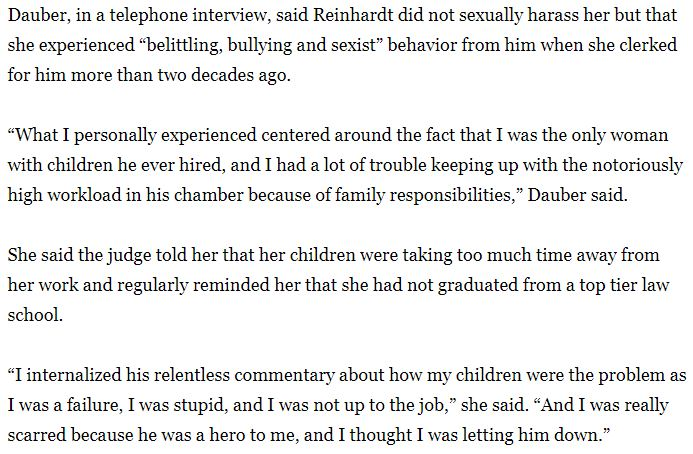 Reinhardt clerk from *20 years ago* cites his belittling, bullying, and sexist behavior, about how my children were the problem as I was a failure, I was stupid, and I was not up to the job. latimes.com/california/sto…