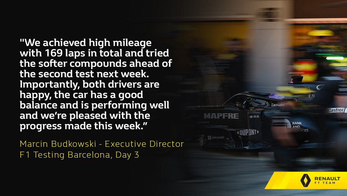 """""""It's been a very good day for us today and a great way to end the first week of testing, with Esteban out in the morning and Daniel in the afternoon."""" Marcin Budkowski, Executive Director - #F1Testing, Day 3 👇  #RSspirit"""