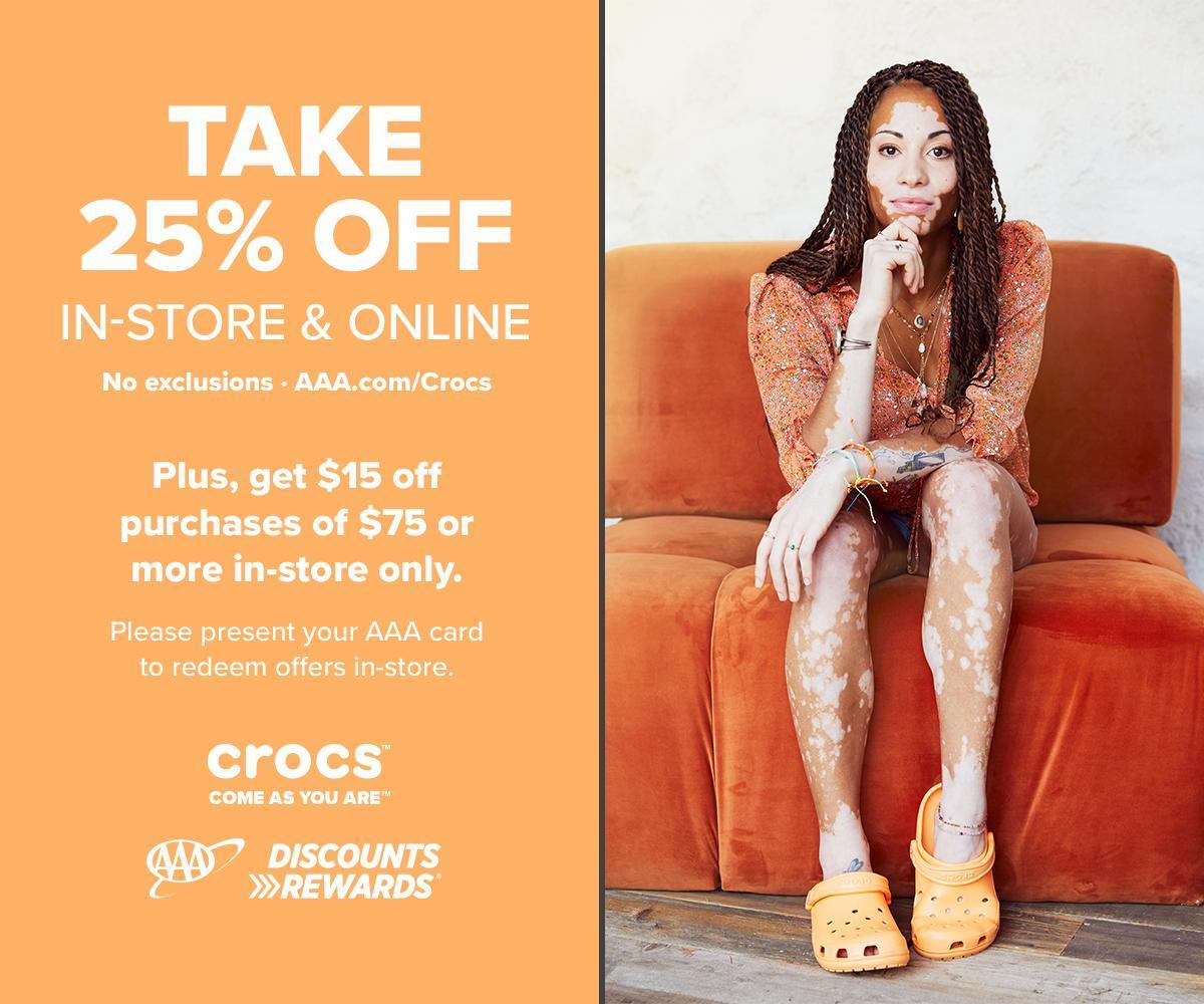 Use your #AAADiscounts to save at Crocs. 💲🛍️👟  #AAADiscountDownload