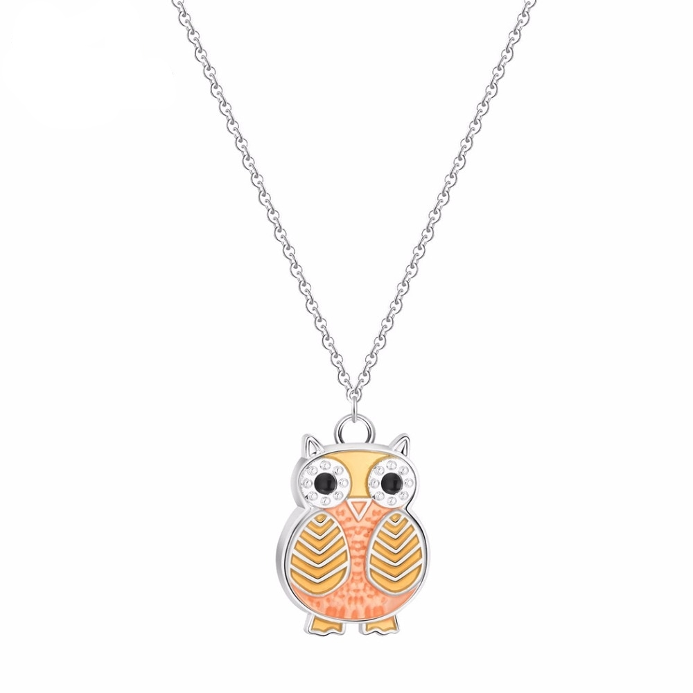 #family #happy Owl Shaped Colorful Enamel Pendant Necklace for Girls