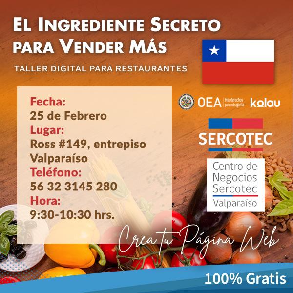 #Emprendedores con #Restaurantes 🍳 en #Valparaíso: ¡Prepárense para el nuevo taller digital para crear tu página web totalmente GRATIS! 🎉 #PlanDigitalizaciónMIPYME de #Chile 🇨🇱, liderado por @Sercotec_Chile @sercotec_valpo @OEA_oficial @riacnetorg y KolauMarketing.