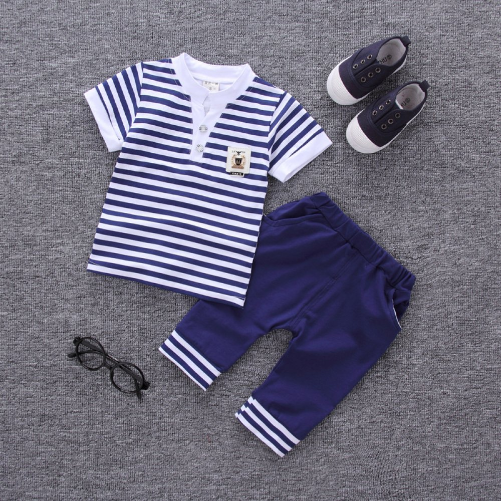 #happy #streetstyle #moda Boy's Striped Cotton Top and Pants Clothing Set