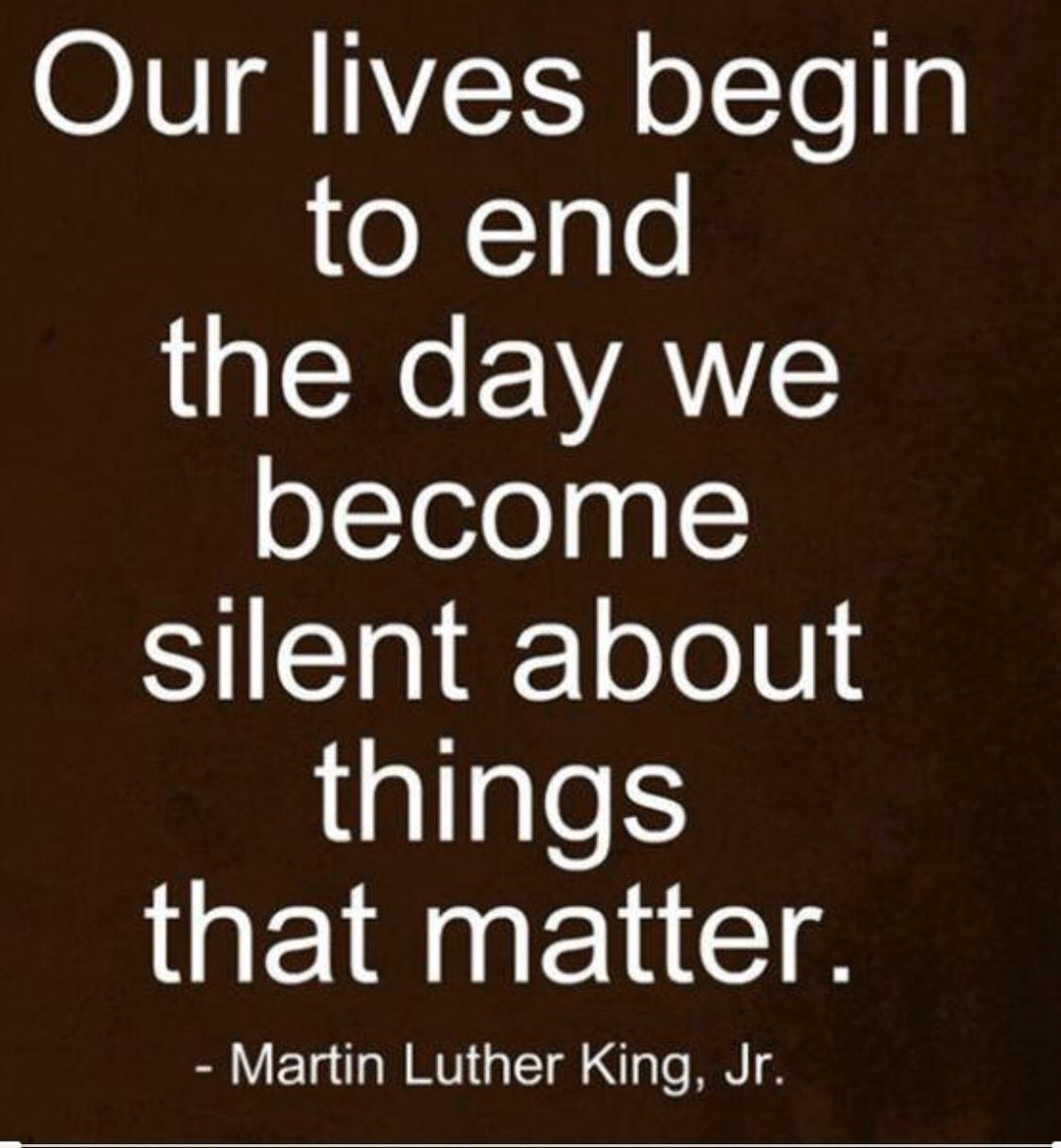 """Our lives begin to end the day we become silent about things that matter."" -Dr. Martin Luther King Jr  Always stand up for your beliefs. Always stand up for your students.  #BuildHOPEedu #bekindEDU #tlap #LeadLAP #edchat #engagechat #BeTheOne #JoyfulLeaders #LearnLAP #eduAR"