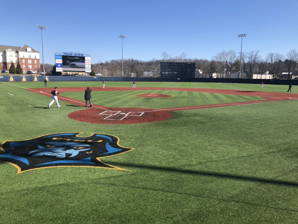 Chilly day for @ETSU_Baseball but at least the wind is light.. Bucs hosting Rider #WCYB