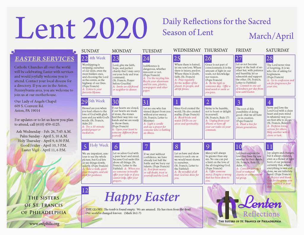"""test Twitter Media - Our Lent/Holy Week Calendar is now available.  It is an easy to use, daily reflection guide, using quotes from St. Francis of Assisi and Pope Francis along with some action steps to take to help you """"Live like Francis!""""  https://t.co/8efyGtpwYQ https://t.co/PsXT9F0VIN"""