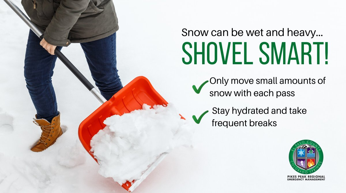 Shoveling snow can be a lot harder than it looks, especially when the wet, heavy stuff starts to fall. Don't be a hero! Stay safe and if you see a neighbor in need, lend a hand! #ResolveToBeReady #COSprepared