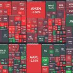 Image for the Tweet beginning: Die Finviz Market Map zeigt