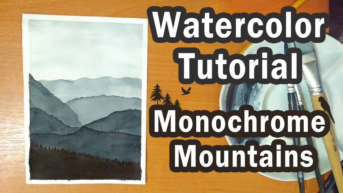 Watercolor Monochrome Mountains🏔️🏔️  watch the full tutorial:    #watercolor #YouTube #watercolortutorial #artists #stepbystep #YouTuber #watercolorpainting #arttherapy #FridayFeeling #artistsontwitter #FridayFunDay