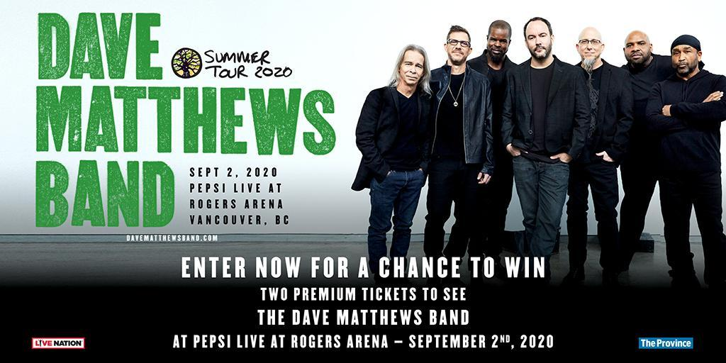 Contest Alert! Enter for a chance to WIN 2 tickets to see Dave Matthews Band on Sept 2nd at Pepsi Live at Rogers Arena. For contest details and to enter: http://davematthewsband.hscampaigns.com/   #contestalert #rogersarena #pepsilive #summertour2020 #concertspic.twitter.com/V272eLPKWj