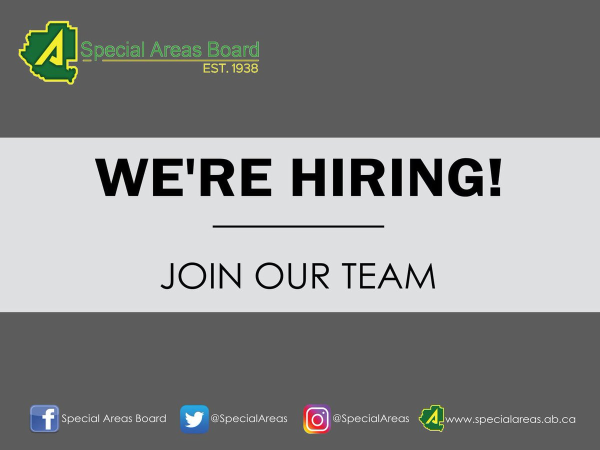 Special Areas is hiring seasonal wage employees for our 2020  CAMP construction positions. We are accepting applications until March 4.  Head to http://ow.ly/DEhJ50ym2AD   #specialareas #returntorural #workwednesday #fulltime #seasonal #roadcrewpic.twitter.com/sPt975uKWq