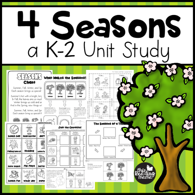 4 SEASONS UNIT STUDY FOR K-2 LEARNERS: Looking for some hands-on and fun activities for learning about the 4 #seasons? This unit study gets learners observing, exploring, and learning about seasons in both the Northern & Southern Hemisphere and MORE!