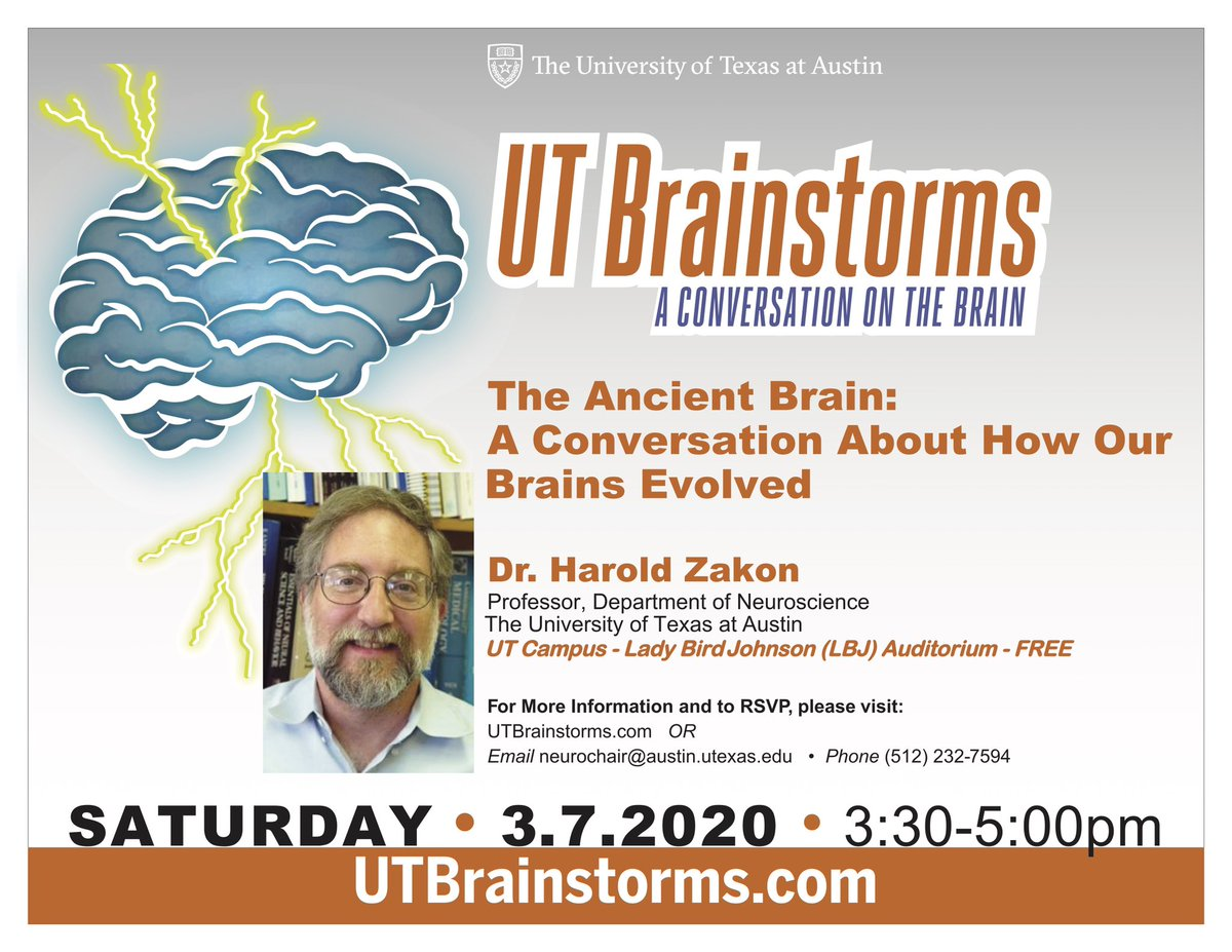 At our next UT Brainstorms on March 7th, we will have Dr. Harold Zakon teach us about the interesting ways our brains have evolved throughout the years   #utneuroscience #neuroscience #utaustin #texasscience #universityoftexas <br>http://pic.twitter.com/YN8uwnPfl6