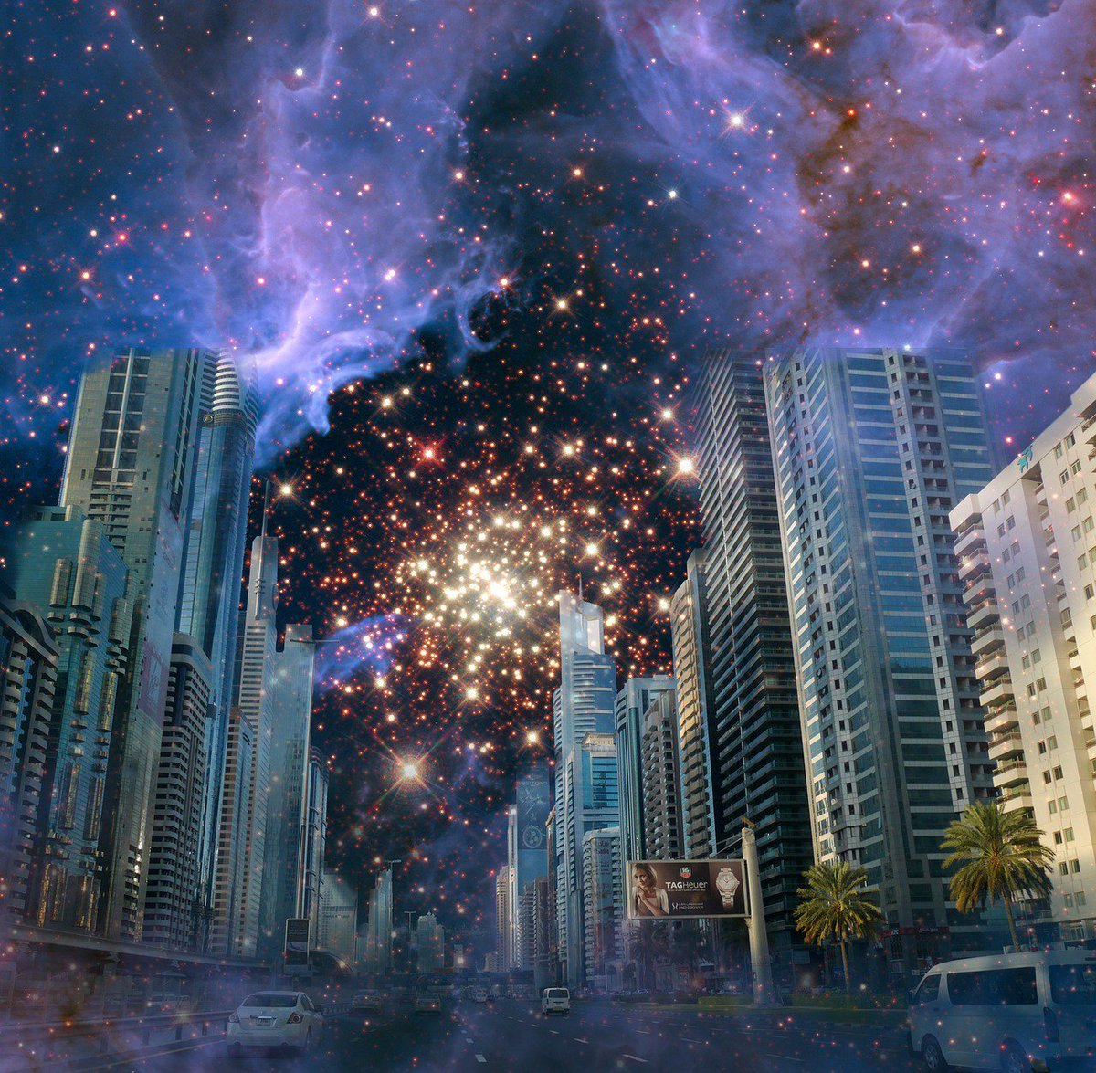 City! Garden of hearts, of souls. My eyes wander through your concrete tendrils, Hunched hills, spiraling alleyways, Glacial eyed windows meeting dreaming streets, Thirsty Avenues thrusting their luster against the burning blue fire of the sky.~E.Jacobs #city #night #stars #art