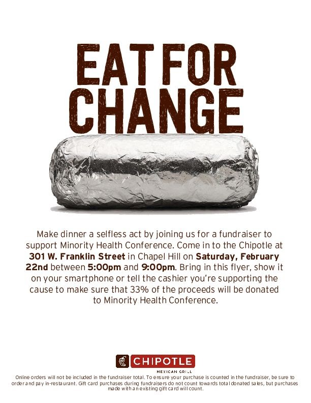 It's almost time for the Minority Health Conference! Stop by Chipotle tomorrow from 5-9 p.m. to support @MHC_UNC and enjoy some delicious food! A portion of sales will go to the conference — all you have to do is show this flyer or mention the conference at the register. 🌯�…