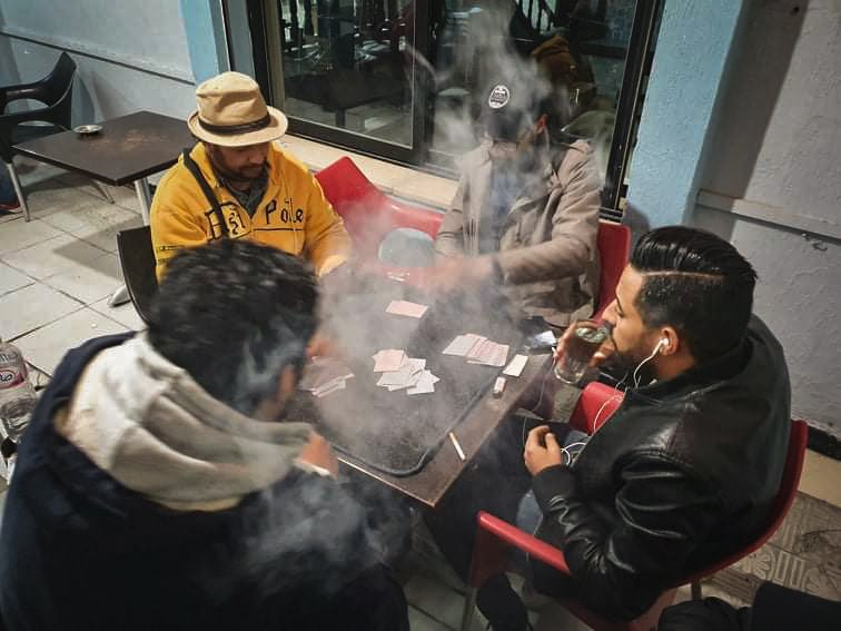 As usual, after a working day and before returning home, #Tunisian #men spend some time with #Friends at the cafe in Ariana #downtown, #Tunisia, on February 21, 2020. © Chedly Ben Ibrahim  (by smartphone) #dailylife #chedlybenibrahim #photojournalism