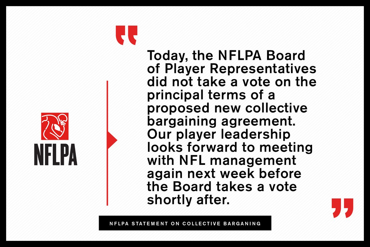 NFL player representatives delay vote on collective bargaining agreement proposal