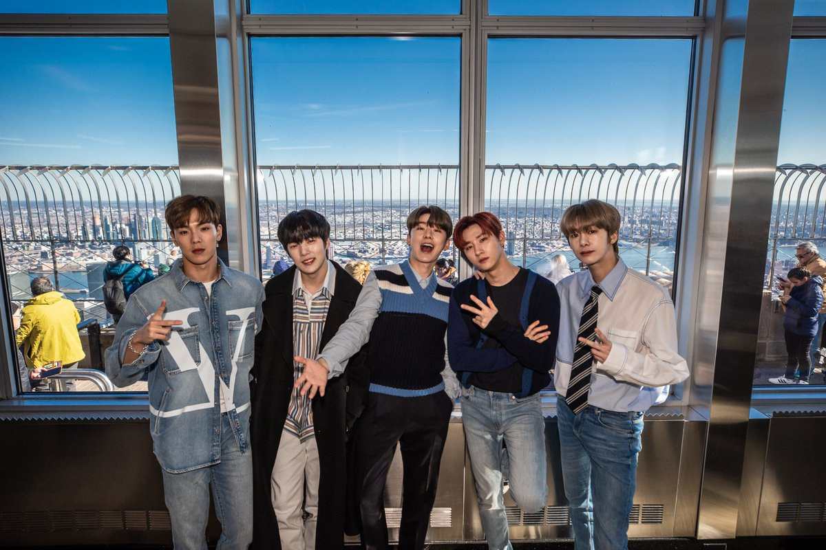 It was #ALLABOUTLUV this morning with @OfficialMonstaX on top of the #EmpireStateBuilding! Thanks to #MONSTA_X for visiting & congrats to the two special winners of the meet-and-greet!   Follow us on Instagram (@empirestatebldg) for your chance to win prizes like this!<br>http://pic.twitter.com/yRgxoz3ijZ