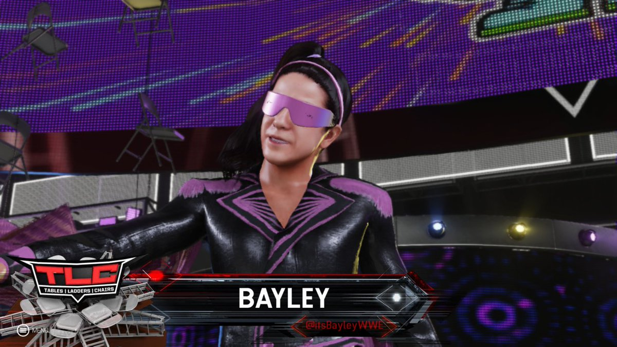And their opponents, 1st @itsBayleyWWE (homage to Bret Hart) & @SashaBanksWWE, as they await their mystery partner. The winner of this #laddermatch gets a shot at the #WomensNationalChampionship. #TablesLaddersandChairs #UniverseMode #TLC #XboxOne #XboxShare #PPVTrend #WWE2K19