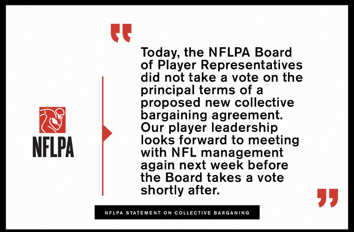 Official ⁦@NFLPA⁩ statement on today's collective bargaining meeting: