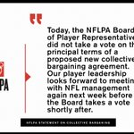 Image for the Tweet beginning: Official ⁦@NFLPA⁩ statement on today's