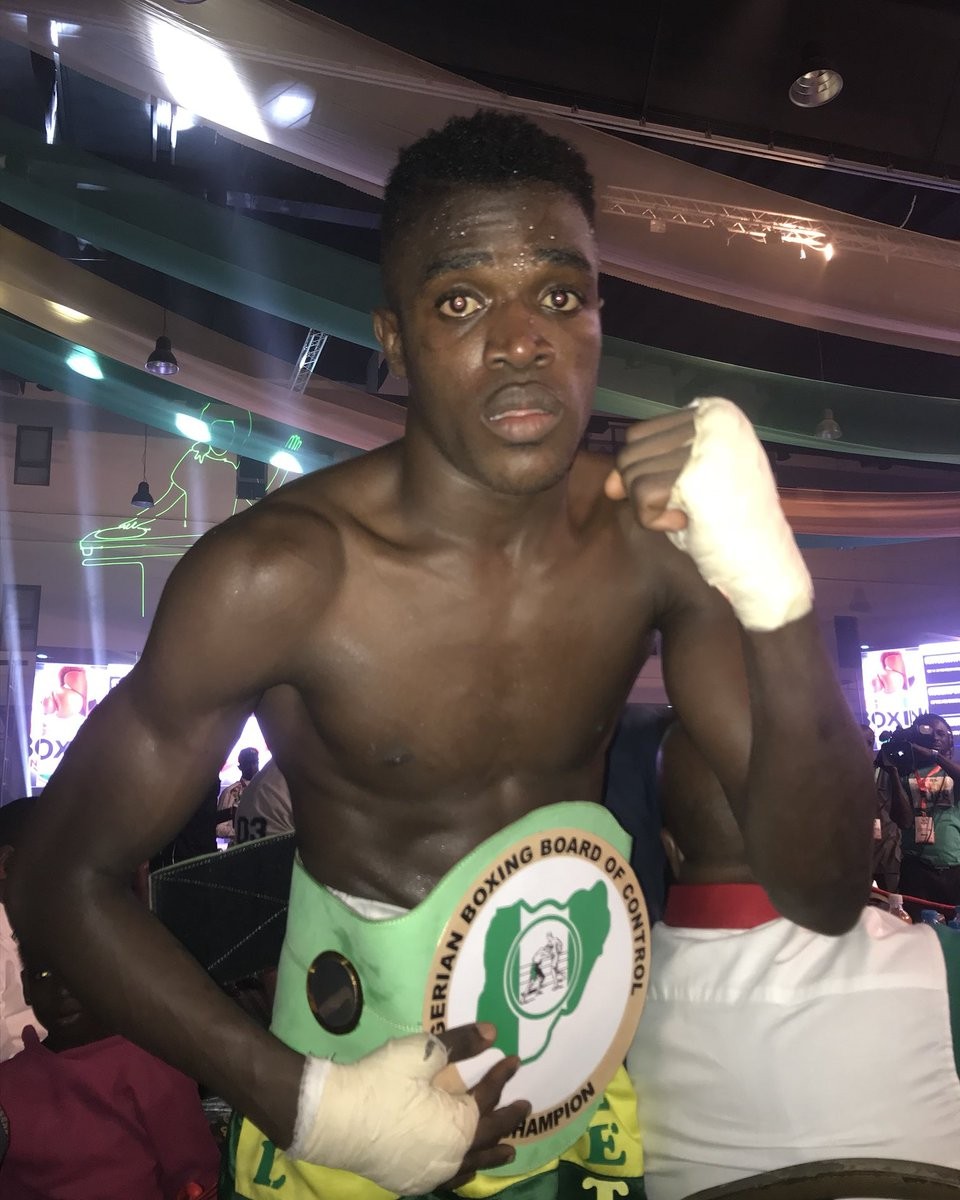 """Undefeated  National and West African Boxing Union(WABU)welterweight Champion. Riliwan """"babyface"""" Babatunde (11-0-0-6 KOs).  Back in Action on 12 of April, @flykiteboxing undercard.   Who do you want him fight  Next?   #boxing #flykiteboxing #gotvsport #nigeriaboxing #Nigeria"""