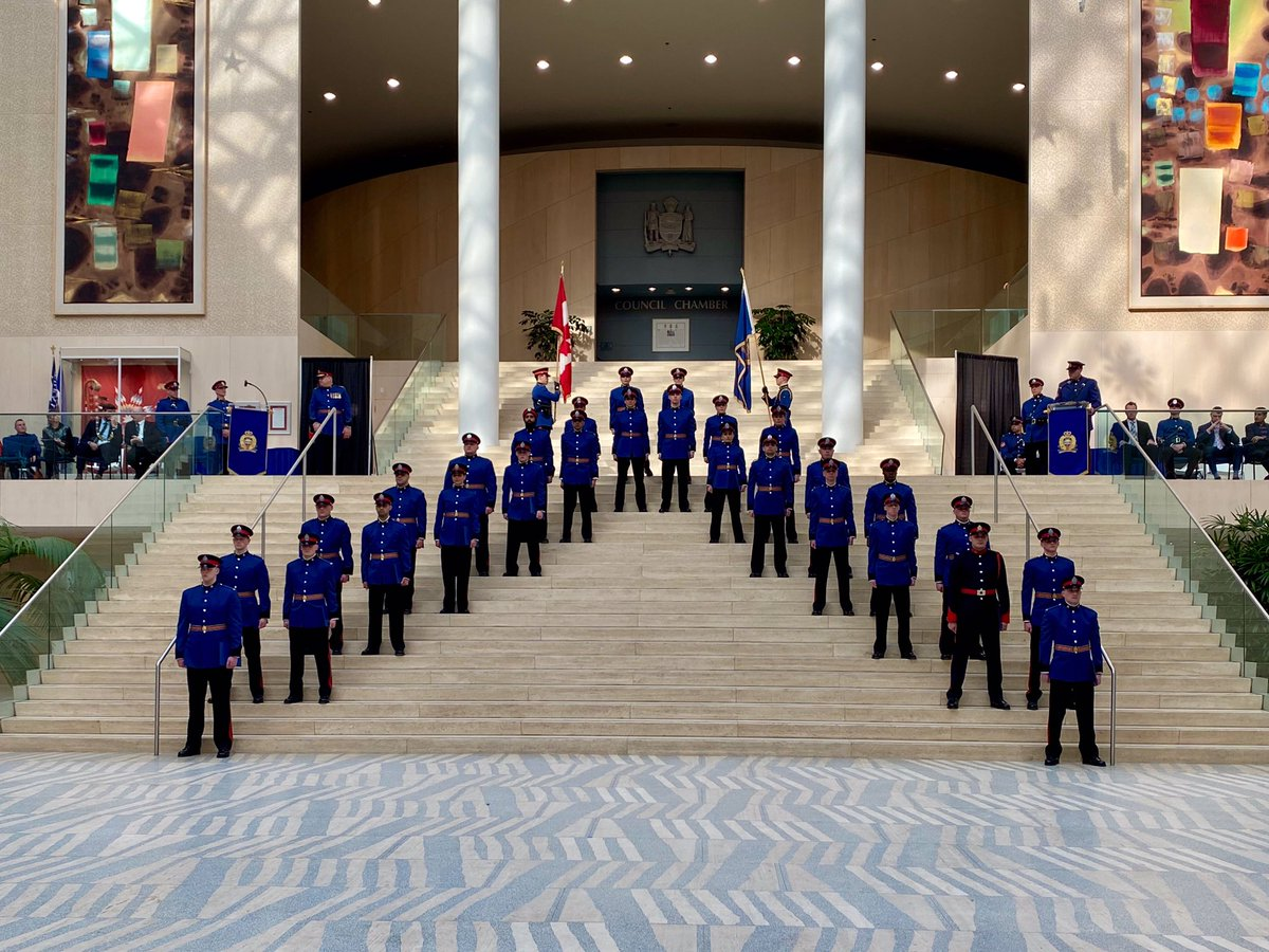 Today, we celebrated 28 officers joining our Service, as well as the Lacombe Police Service, during a formal graduation ceremony at City Hall. The members of RTC 147 will bring a unique set of skills to the frontline. Congratulations to our new recruits! #Yeg #EPS #JoinEPS