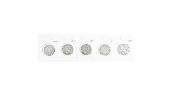 Group of (5) NFLD 925 Silver 50 Cents: 1909, 1911, 1917, 1918, 1919 https://auction.auctionnetwork.ca/Group-of-5-NFLD-925-Silver-50-Cents-1909-1911_i36123018… - Online Auction Saturday February 22nd, 2020 At 1:00 PM EST.  Certified #Coins, #Banknotes, #Bullion, #Art, #Jewellery, #Collectibles & More! #OnlineAuction #CoinAuction #Auctionspic.twitter.com/OADcVLKYzf