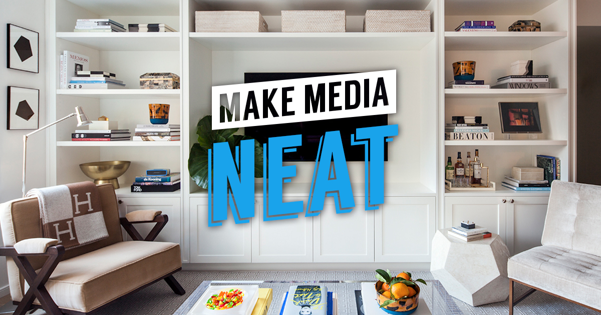 Create a media center in the living room or family room with a built-in bookcase with doors. The TV and speakers will fit securely on top, and accessories are neatly tucked away out of sight on the shelves.   #homeImprovement #homerenovation #design #family #remodeling