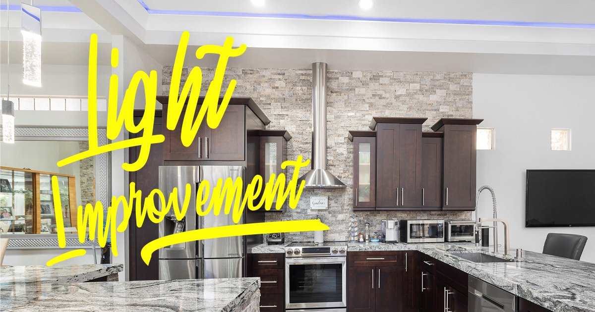 Update your kitchen by installing new light fixtures. Use floodlights and sconces in darker areas of the kitchen, and brighten overhead lighting with LED lights.  #homeImprovement #homerenovation #design #family #remodeling #homedesign #homesweethome