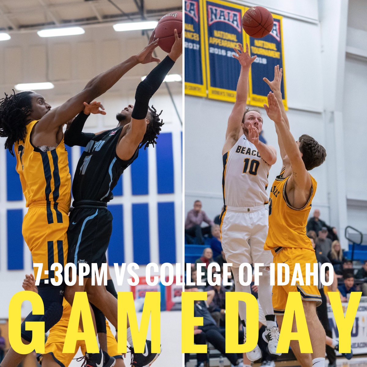 ⚡️GAMEDAY⚡️ 7:30pm vs (1)College of Idaho ⚪️FANS WEAR WHITE⚪️ #gobeacons #family