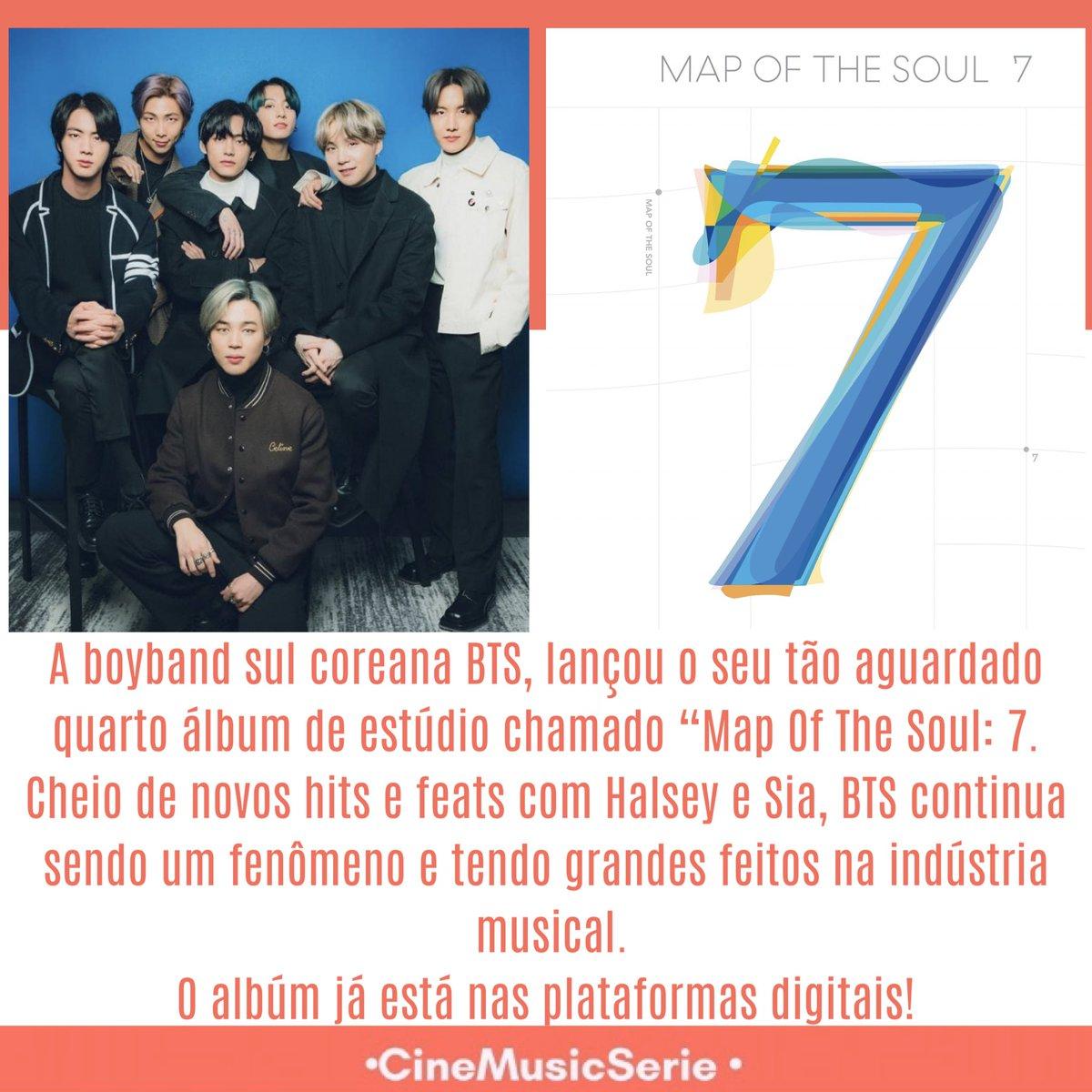 """A boyband sul coreana BTS, lançou o seu tão aguardado quarto álbum de estúdio chamado """"Map Of The Soul: 7. Cheio de novos hits e feats com Halsey e Sia, BTS continua sendo um fenômeno e tendo grandes feitos na indústria musical. O albúm já está nas plataformas digitais! #BTS"""