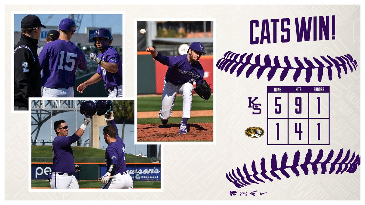 Cats Win!  McCullough punches out 8, Ceballos homers and Willman drives in a pair to upend Mizzou!  #KStateBSB takes on TAMU-CC Saturday at 6pm<br>http://pic.twitter.com/ljzqkD44rF