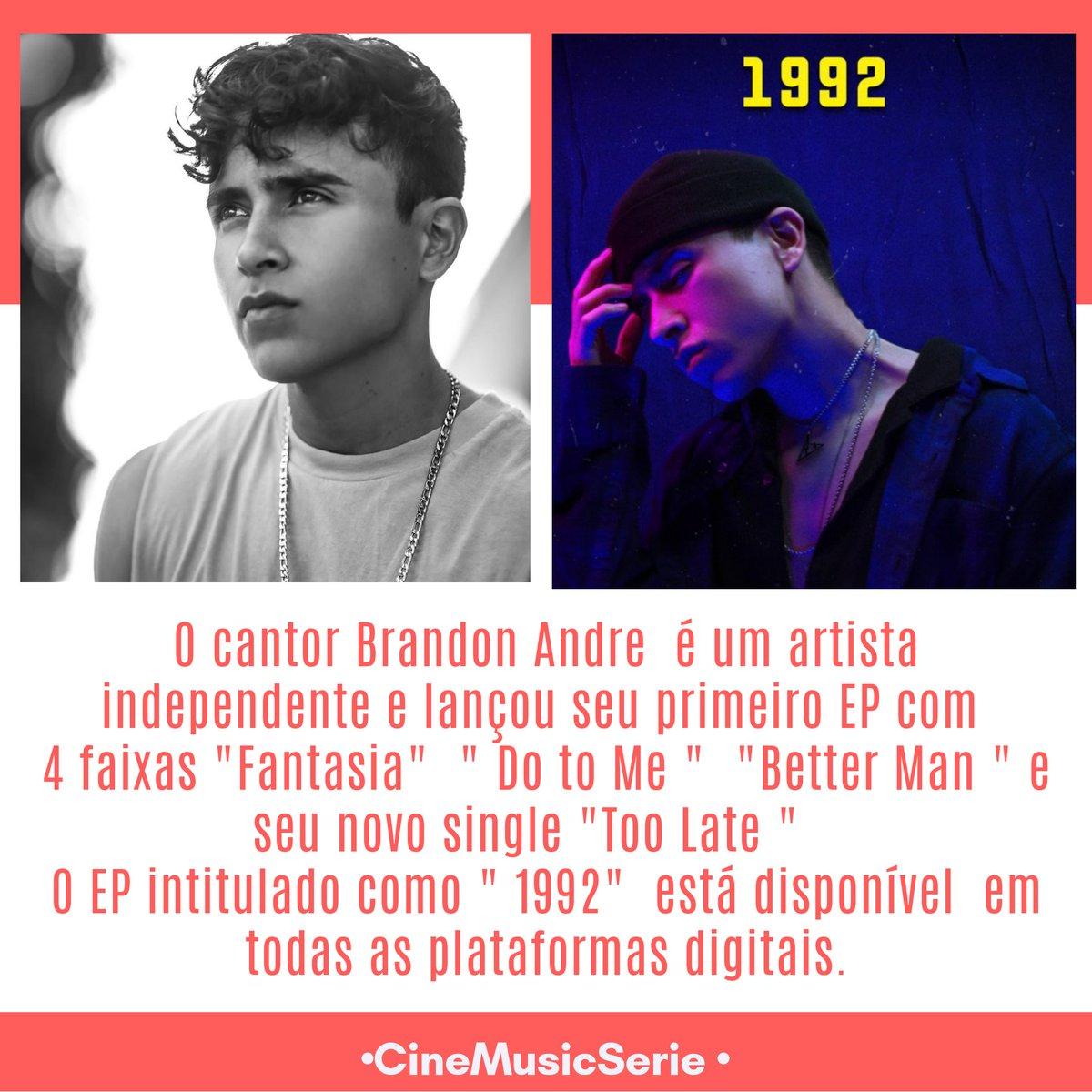 """#Music :  O cantor @brandonandre_ Lançou seu EP """"1992"""" está disponível  em todas as plataformas digitais.  Ouça :"""