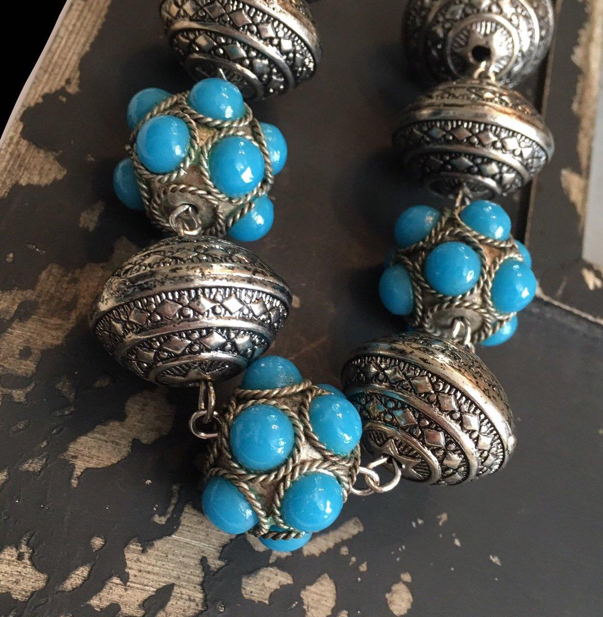 Chunky Boho necklace, handmade, large metal beads, tibetan, hippie, bold, blue turquoise color, Boho, silver, statement necklace  #Bridaljewelry #Handmadejewelry #Chunkyboho #Bohochic #Stonenecklace #CasualStatement