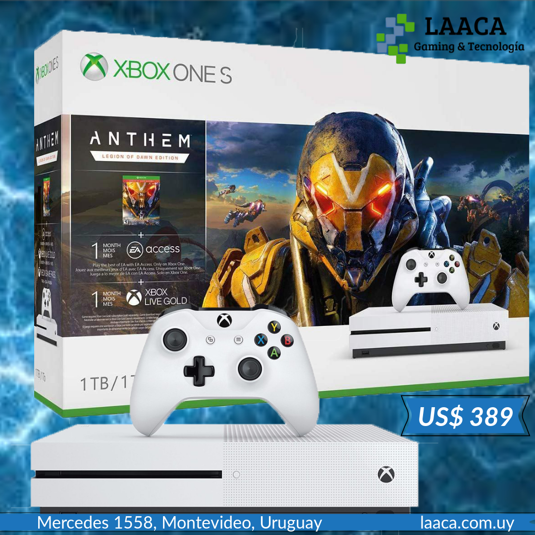 Para vos Xbox One S 1tb + Anthem 1 Mes Gold + 1 Mes Ea games  U$S 389. Envíos a todo el país. http://ow.ly/mWg950ydejY  #xboxones+anthem #xboxgamer #xboxones https://laaca.com.uy/producto/xbox-one-s-1tb-anthem-1-mes-gold-1-mes-ea/ …pic.twitter.com/RtwgZsmN75