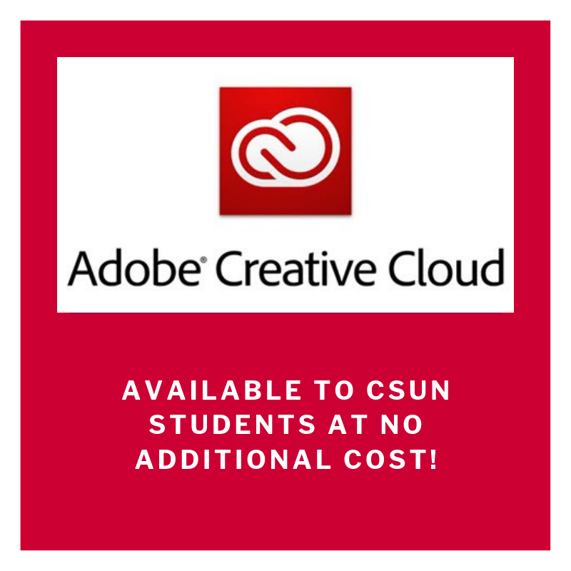 The Adobe Creative Cloud is available for #CSUN students at no additional cost. All Creative Cloud products (e.g. Photoshop, InDesign, Illustrator, Premiere, Spark, XD, and more) are available for students to download and install. For more info: https://www.csun.edu/it/adobe-creative-cloud-students…pic.twitter.com/GZj2qmeXqN