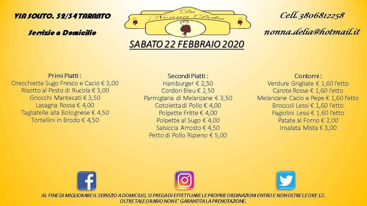 "Menù Sabato 22 Febbraio 2020 - Gastronomia ""Da Nonna Delia"" @da_nonna_delia #danonnadelia #food #foodlovers #seafood #seafoodlovers #pranzo #lunch #gastronomia #ristorante #taranto #puglia #tagsforlike #tagsforfollow #follow #like4likes #pugliadavedere #pugliacom #pugliafoodpic.twitter.com/mAMD61CK1C"