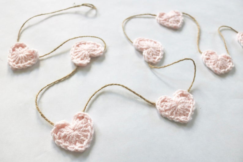 """Hearted on @etsy tonighthttps://www.etsy.com/listing/661843352…FREE US shipping pale pink 30, 45, or 60"""" Valentine's Day heart farmhouse garland ~ 38 other colors#etsy #heart #hearts #pink #love #farmhouse #Valentines #ValentinesDay #Valentines2020 #ValentinesDay2020"""