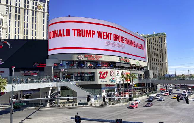Analysis: With video billboard messages in the heart of the Strip, Bloomberg turns tables on Trump http://bit.ly/39RYNDg