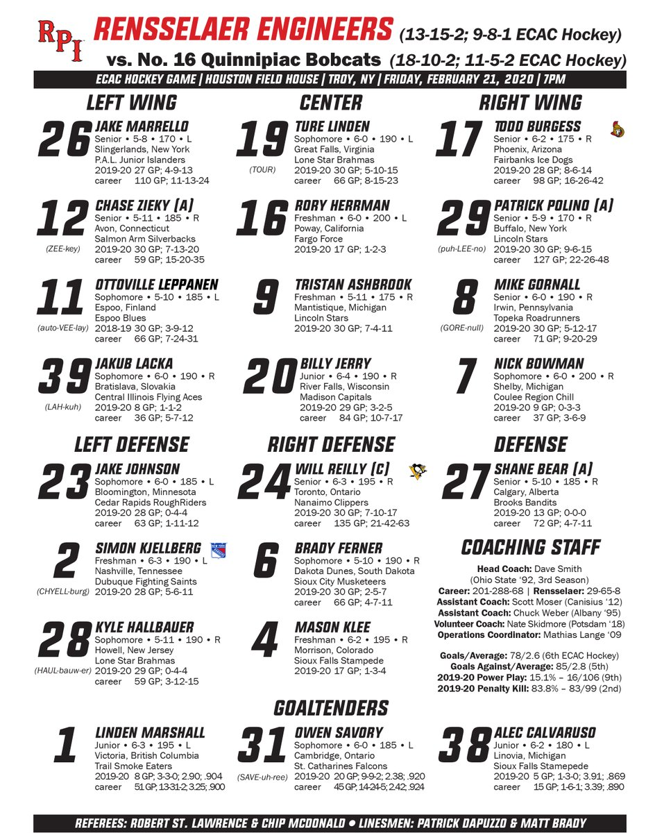 Lines for tonight's match-up with Quinnipiac!<br>http://pic.twitter.com/sRoaVm8SeR