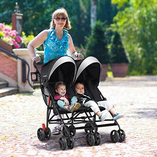 BABY JOY Double Light-Weight Stroller, Travel Foldable Design, Twin Umbrella Stroller with 5-Point Harness, Cup Holder, Sun Canopy for Baby, Toddlers (Black) #baby