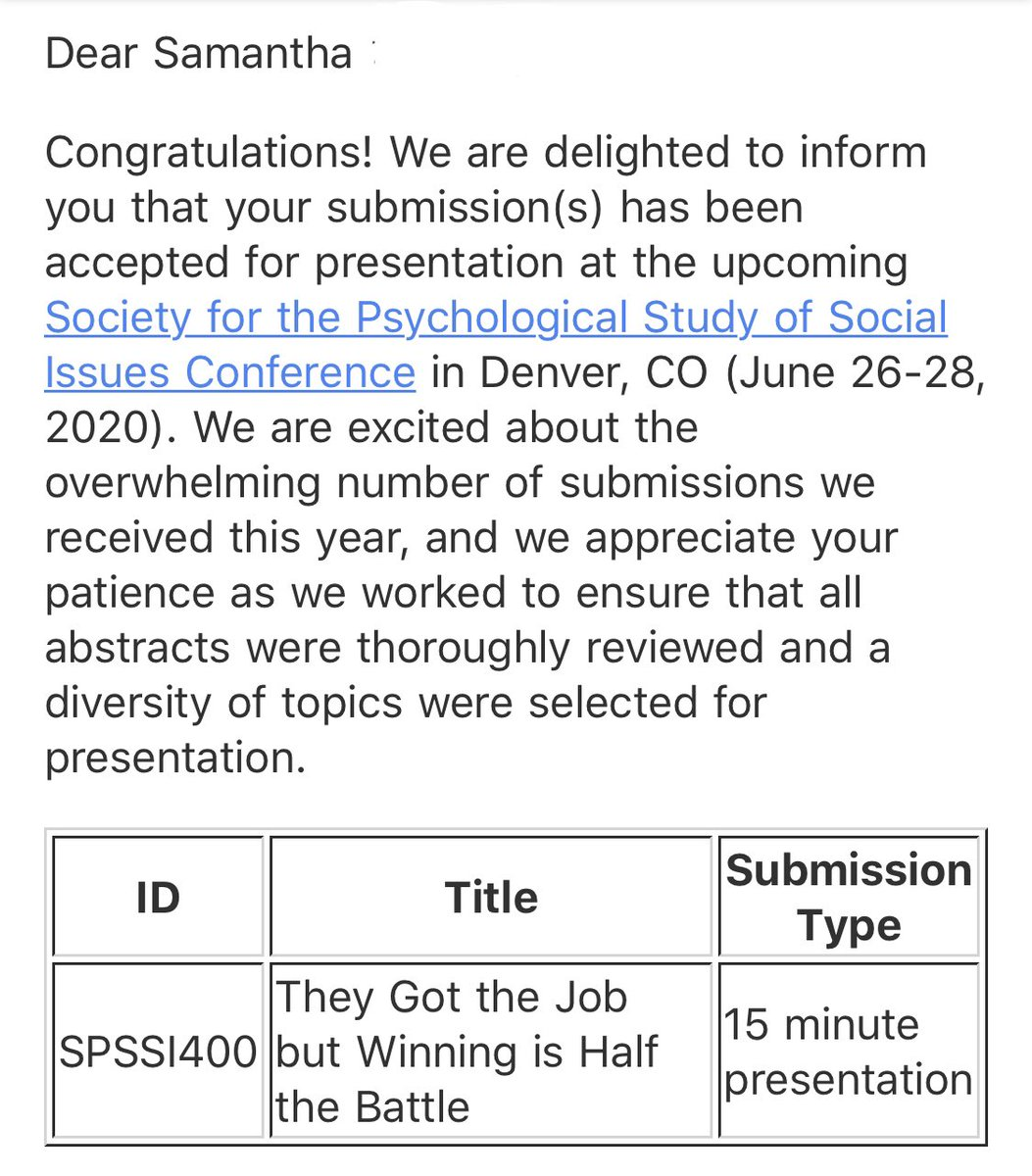 Looking fwd to attending @SPSSI! It will be my 1st time. Many thx to whoever reviewed my proposal submission & thought it could add value to #SPSSICon2020!  Also, the last time I was in Denver, the snow was above my knees, so I'm glad this conference is in June.   #phdjourney <br>http://pic.twitter.com/E55UloJL9a