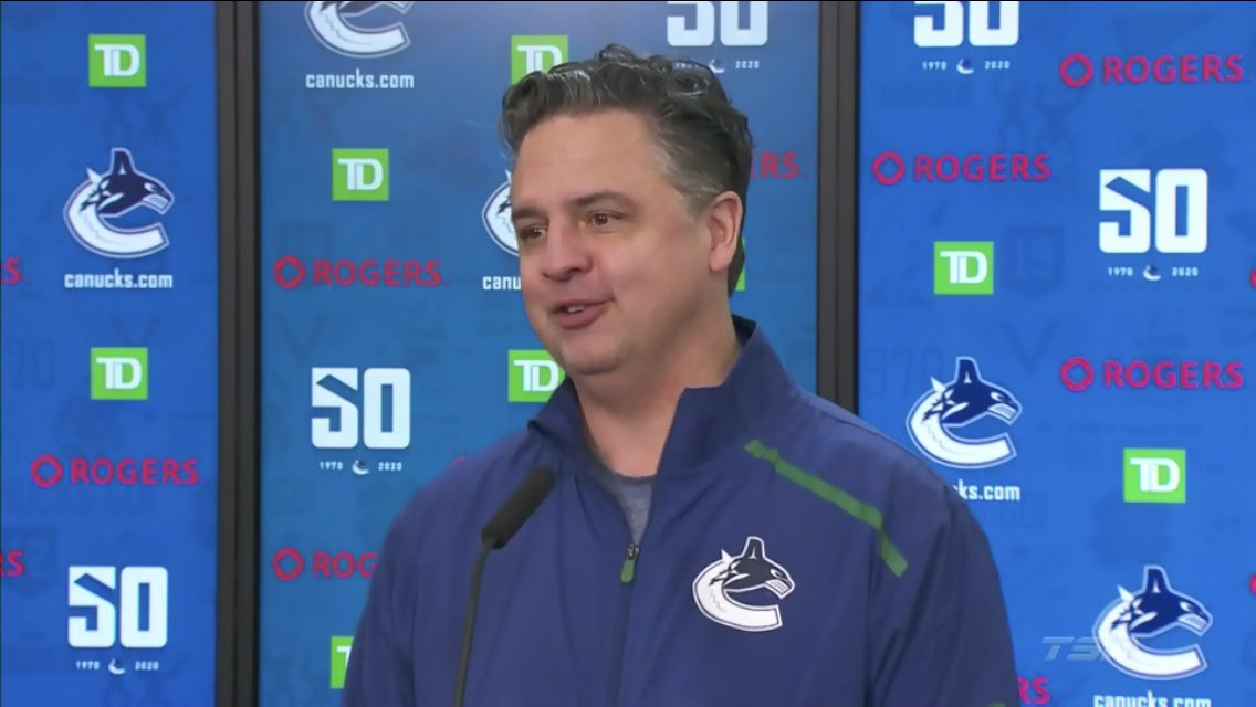 """#Canucks  head coach Travis Green on Troy Stecher trade speculation - """"Well, I watched #TSN last night...I guess that's where the question is coming from...""""  Guilty.   Here's the latest Trade Bait board from @frank_seravalli:  http:// tsn.ca/1.1446307       #TSNHockey #TradeCentre<br>http://pic.twitter.com/4w22sPtJiy"""