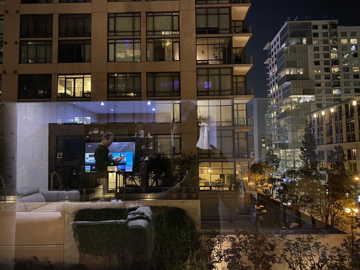 Living room view . . . #DTLA #glass  #contrast #depth  #night #lights  #building #street  #vexsens